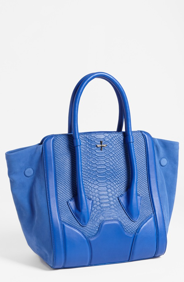 Pour la Victoire 'Butler - Large' Snake Embossed Leather & Suede Tote - Electric blue