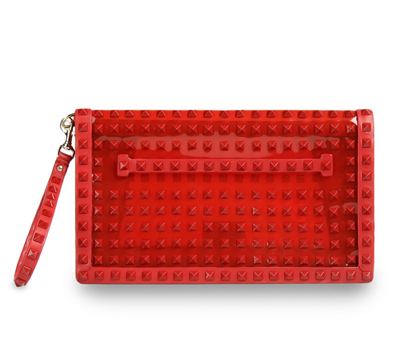 Valentino Garavani Rockstud clutch in pvc and napa leather