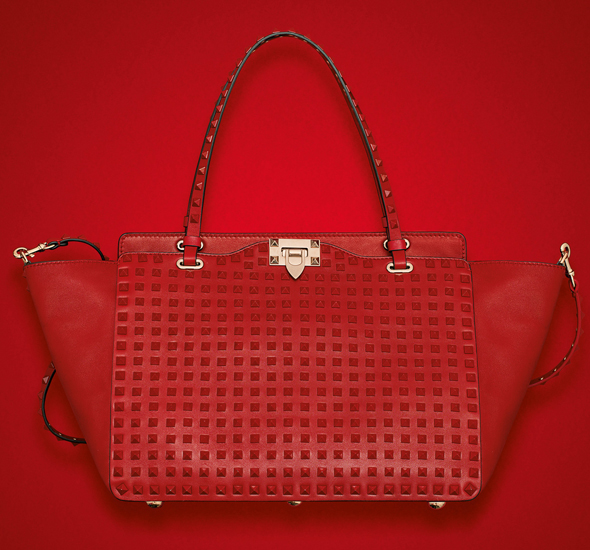 Valentino Rockstud Rouge Medium Tote