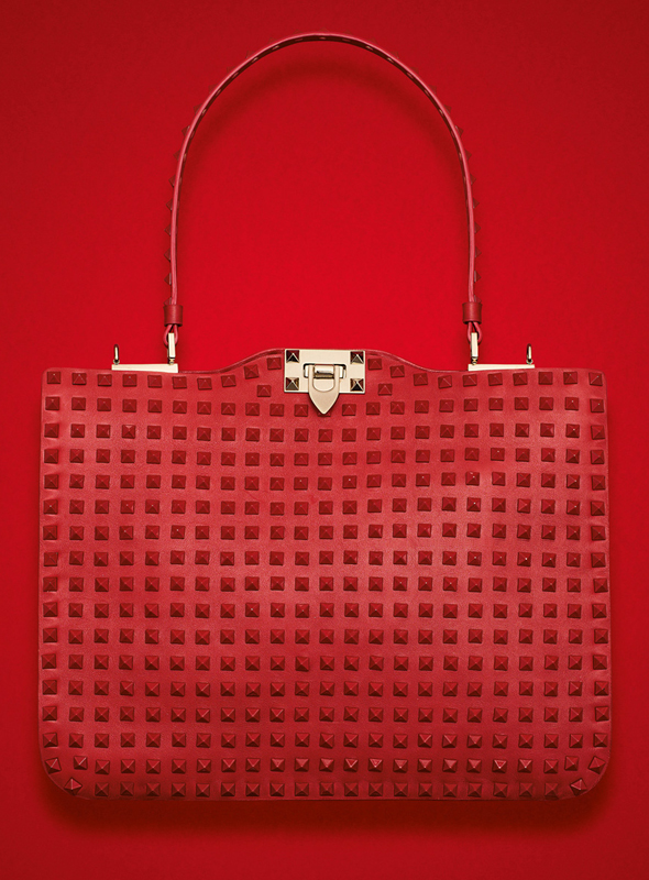 Valentino Rockstud Rouge Single Handle Bag