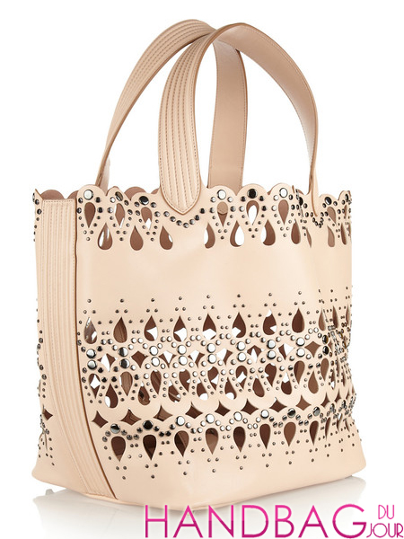 Alaïa Beige Studded Lasercut Leather Tote