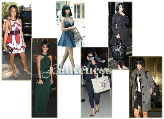 The Many Bags of Rihanna: Gucci Mirror Evening Clutch, Gucci Tippy Evening Bag, Stella McCartney Appaloosa large tote, Louis Vuitton LOVE Bag, YSL Downtown Patent Tote, Zac Posen Olivia Woven Leather Satchel