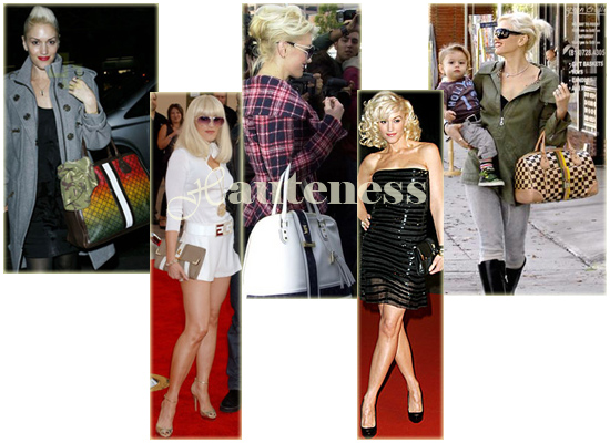 The Many Bags of Gwen Stefani: L.A.M.B. Ombre Rasta Shopper tote, L.A.M.B. Catania East/West Clutch, L.A.M.B. Lucca Medium Bowler, L.A.M.B. Catania East/West Clutch, L.A.M.B. Camel Checkerboard Alston Tote