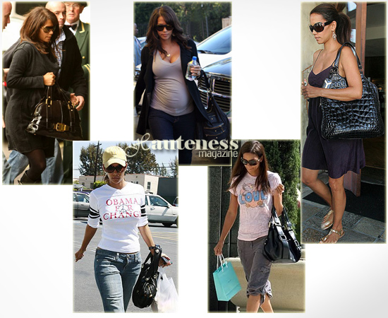 The Many Bags of Halle Berry: Michael Kors Large Patent Satchel, Gustto Baca Bag, Tod's Luna Nylon Media bag, Jimmy Choo Mahala shoulder bag, Yves St. Laurent Tribute tote in patent croc