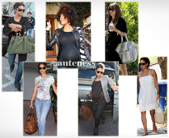 The Many Bags of Halle Berry: green ostrich Bulgari satchel, brown Prada Gauffre satchel, zebra skin Jimmy Choo Alex leather bag in printed pony, Valentino Couture bag, YSL Downtown tote in Silver, cream-colored Versace Puckered Leather Hobo