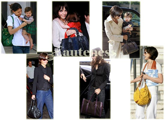 The Many Bags of Katie Holmes: Balenciaga Vert Gazon, Giorgio Armani Bisanzio Bag, Prada Glacé Zippers Metal, Bottega Veneta Ottone Cabat, Louis Vuitton Onatah Suede Fleurs GM, purple nylon and croc leather trim Prada Satchel