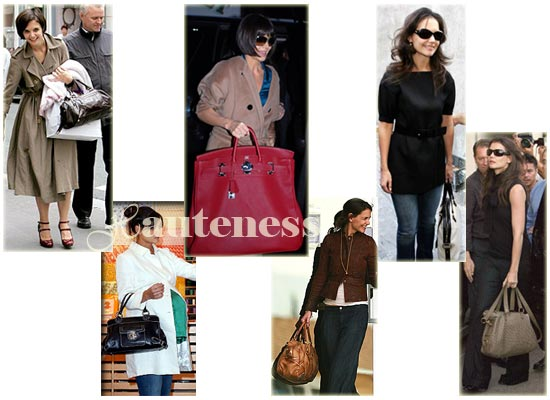 The Many Bags of Katie Holmes: Balenciaga The Whistle Large Leather Bag, red Hermès Haut à Courrois, black and white YSL Muse, black Marc Jacobs Marina Satchel, Prada Deer Patch Satchel, Yves St. Laurent Rive Gauche Ostrich Handbag