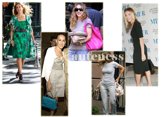 The Many Bags of Sarah Jessica Parker: Patricia Field 'Eiffel Tower' bag, Chanel 'Quilted Croc' Bag in Turquoise, Bottega Veneta shoulder bag, Louis Vuitton Manhattan, Balenciaga Twiggy, black Hermès Birkin