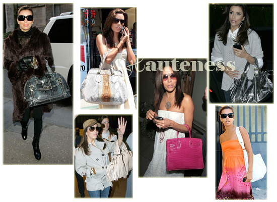 The Many Bags of Eva Longoria: Coach 'Miranda' Printed Python Satchel, Prada Pitone Frame Bag, pink crocodile Hermès Birkin, LuLA's 'LoveLike' Hobo in White, Gerard Darel's 24-Hour bag