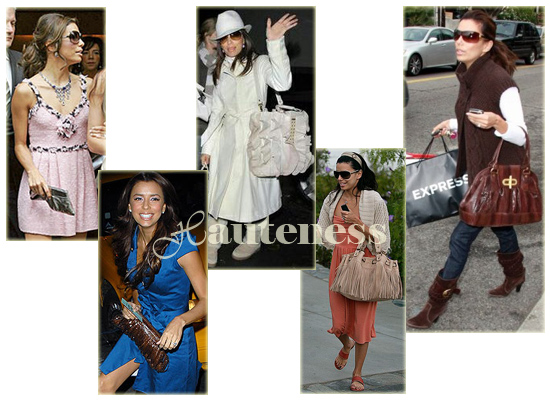 The Many Bags of Eva Longoria: Lauren Merkin's 'Eve' Clutch, BE&D Kan Kan Tote, Katherine Kwei Zara Clutch, Gerard Darel's 24-Hour Fringe bag, Alexis Hudson 'Madeline' Tote (in Bark Snake)