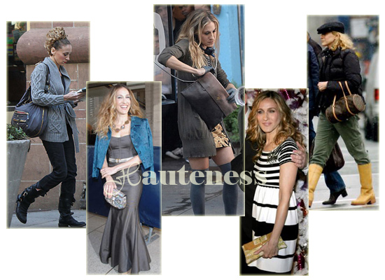 The Many Bags of Sarah Jessica Parker: Tod's Pashmy Half-Moon Bag, Louis Vuitton Papillon, Jimmy Choo clutch, Prada Glace Folder Clutch, gold VBH Python Poche Clutch