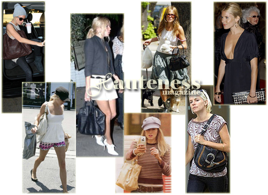 The Many Bags Of Sienna Miller Chanel Leather Coc's Cabas Tote, white Miu Miu Leather coffer bag, Givenchy Nightingale, Kooba Sienna, Balenciaga Part Time Bag, Dior Gaucho, black Burberry Ashcombe clutch