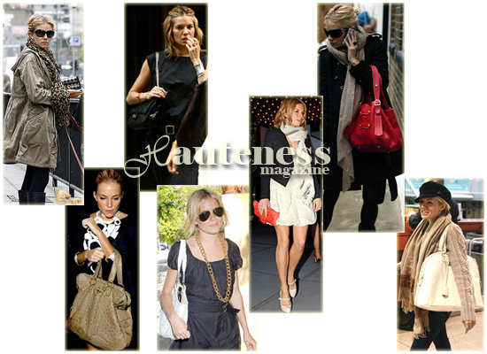 The Many Bags Of Sienna Miller: Thomas Wylde clutch, Yves Saint Laurent Rive Gauche Ostrich Bag, Chanel Classic Caviar Flap Chain Bag, white Anya Hindmarch Gene plaited oversized tote, B. Romanek Crocodile Clutch, Tracy Zych Medium Edie Bag, Yves St. Laurent  Muse