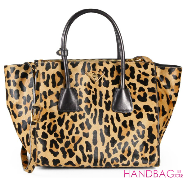 Prada Cavallino Large Twin Pocket Zip Tote in leopard-print calf hair