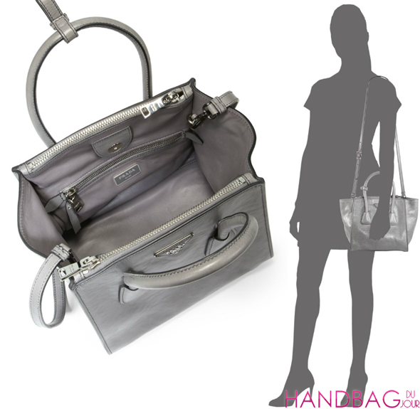 Prada Glacé Calf Small Twin Pocket Tote in grey - inside and on model
