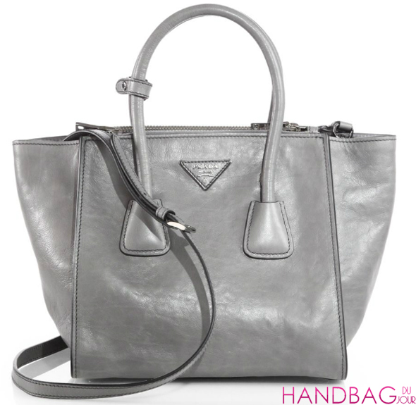 ... leather medium galleria tote bag be79f 6ba9f  usa splurge du jour prada  glacé twin pocket tote in grey as seen on kerry 65d69 8fcf72d5f9db0