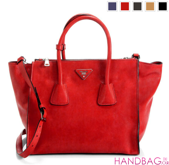 Prada Glace Calf Twin Pocket Tote in red