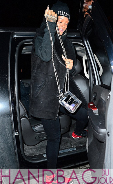 Rihanna totes two Chanel No.5 Bottle Bags