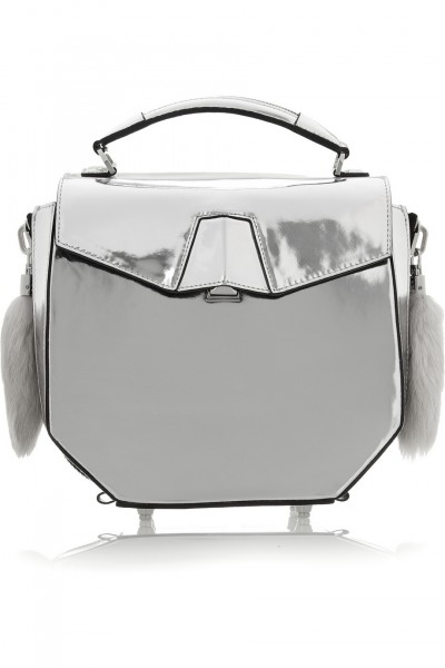 Alexander Wang Devere rabbit-trimmed metallic leather shoulder bag