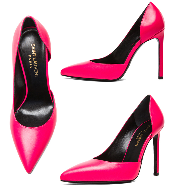 Saint Laurent Paris D'Orsay Calfskin Leather Heels in Neon Pink