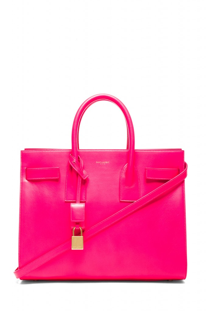 Splurge du Jour: Saint Laurent Small Sac De Jour Carryall Bag in Neon Pink