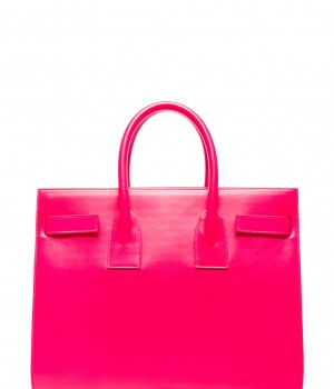Splurge du Jour: Saint Laurent Small Sac De Jour Carryall Bag in Neon Pink - back view