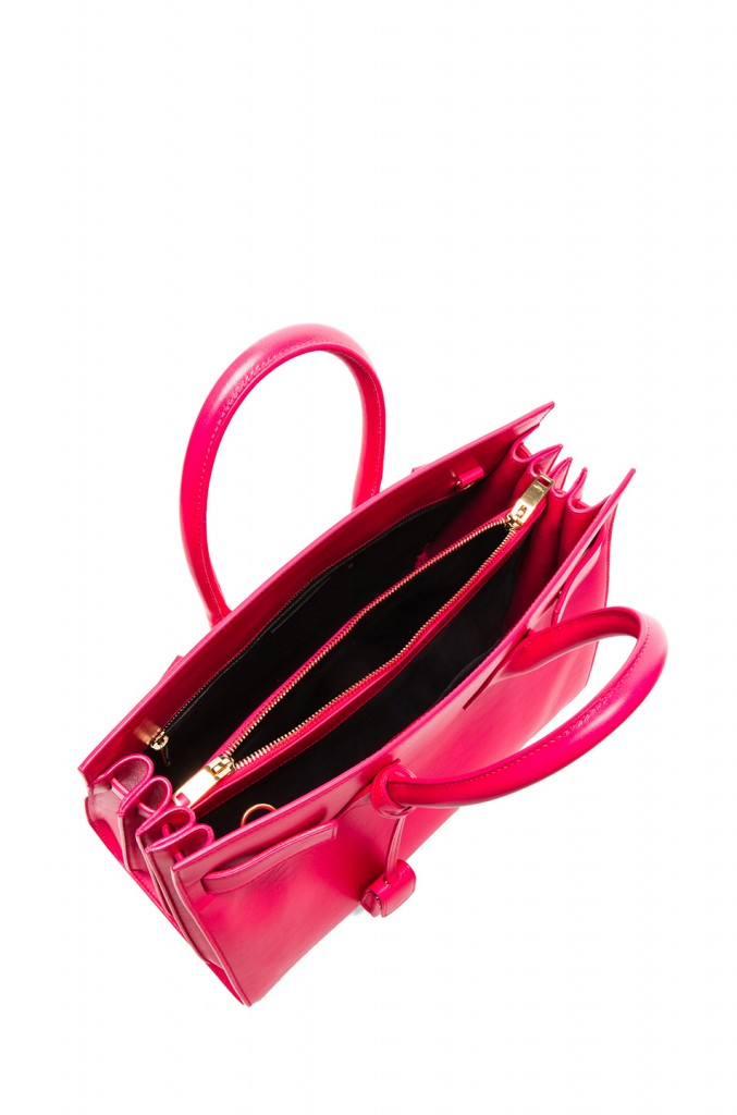 Splurge du Jour: Saint Laurent Small Sac De Jour Carryall Bag in Neon Pink - inside view
