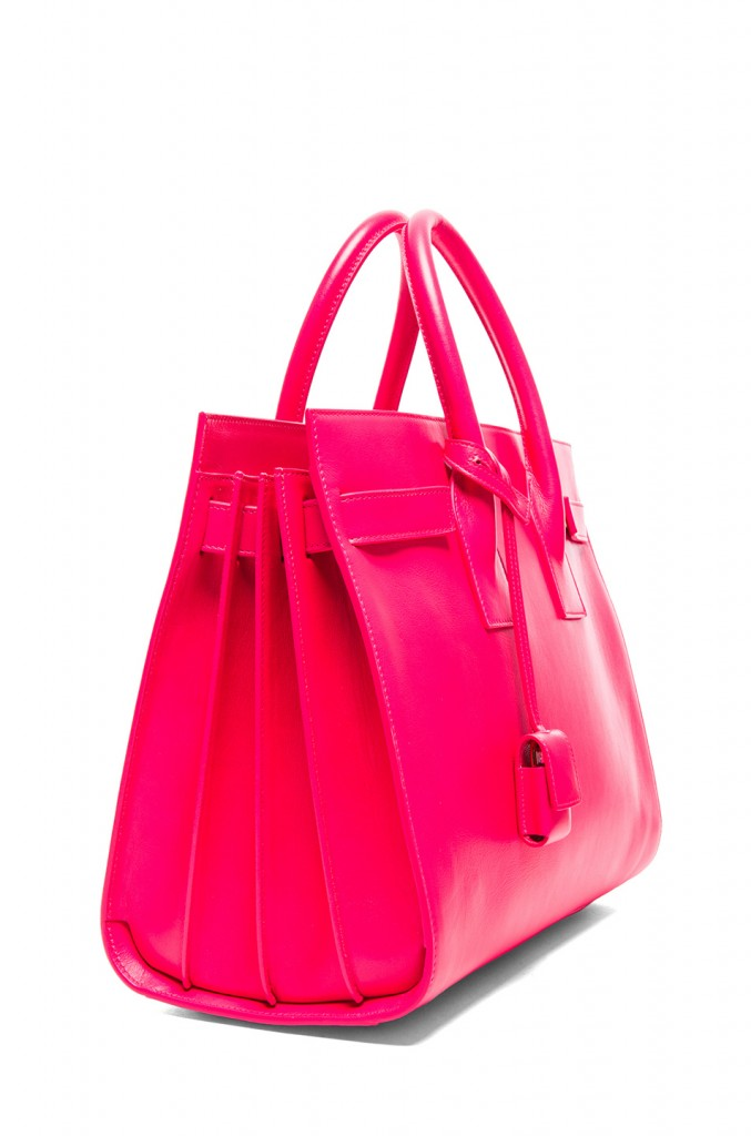 Splurge du Jour: Saint Laurent Small Sac De Jour Carryall Bag in Neon Pink - side view