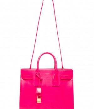 Splurge du Jour: Saint Laurent Small Sac De Jour Carryall Bag in Neon Pink - with shoulder strap