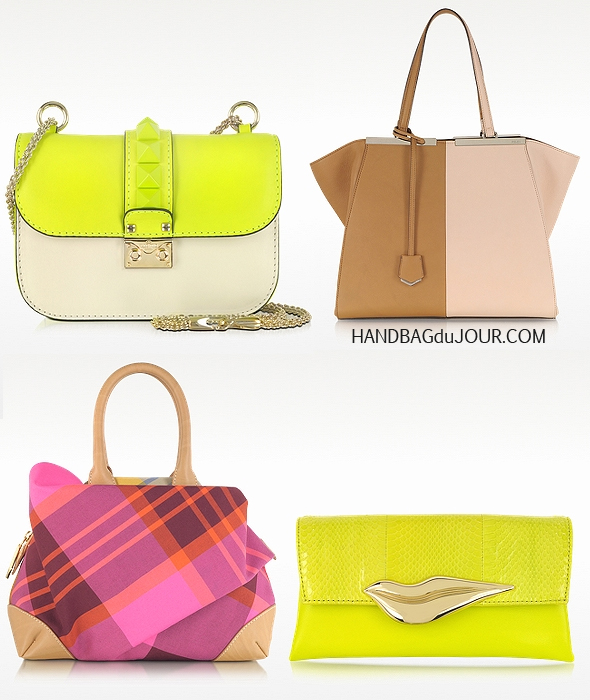 Take 20% off your dream bag today at Forzieri - Valentino Garavani Rockstud Fluo Shoulder Bag, Vivienne Westwood Cassis Mini Satchel in Pink, Diane Von Furstenberg Flirty Envelope Snake Clutch, Fendi 3Jours Large Color Block Leather Shopping Bag