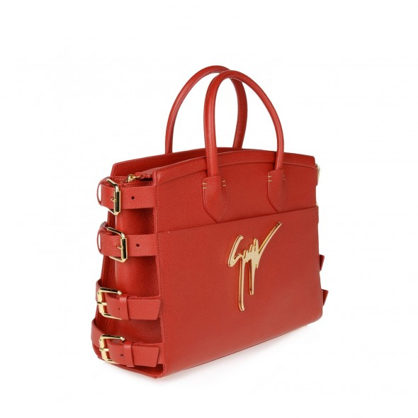 Giuseppe Zanotti Red drummed calfskin G#17 signature Bag with side buckles in red - side view