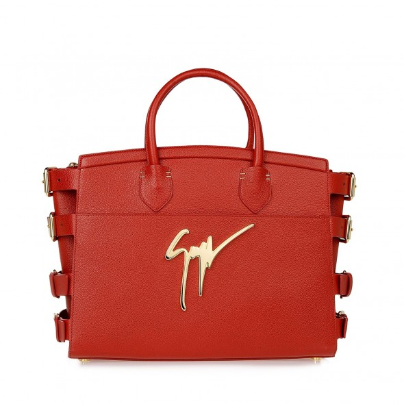 Giuseppe Zanotti Red drummed calfskin G#17 signature Bag with side buckles in red - front view