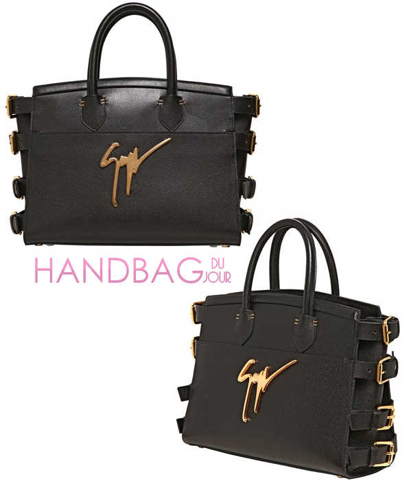 Giuseppe Zanotti Side Buckle Gained Leather Top Handle Tote in black