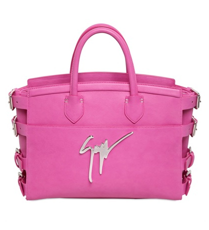 Giuseppe Zanotti drummed calfskin G#17 signature Bag with side buckles in fuchsia