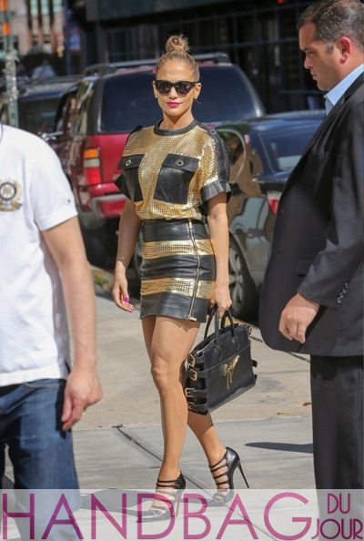 Celebrity handbag spotting: Jennifer Lopez with a Giuseppe Zanotti Side Buckle Gained Leather Top Handle Tote