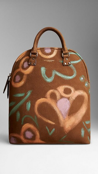 Burberry Bloomsbury Nubuck Hand-Painted Bag - dark honey