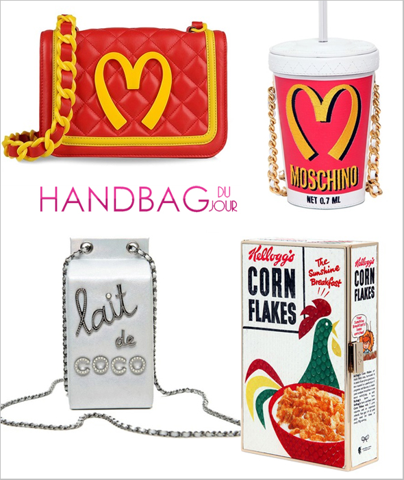 Designer handbags for foodies: Anya Hindmarch Corn Flakes Imperial Ayers Clutch, Moschino 'Fast Food' Quilted Leather Shoulder Bag, Chanel Lait de Coco clutch bag, Moschino Milkshake Leather Shoulder Bag
