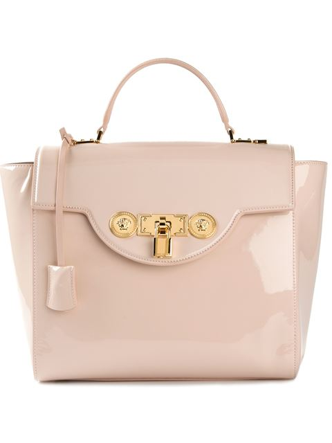 Versace padlock fastening tote as seen on Jennifer Lopez
