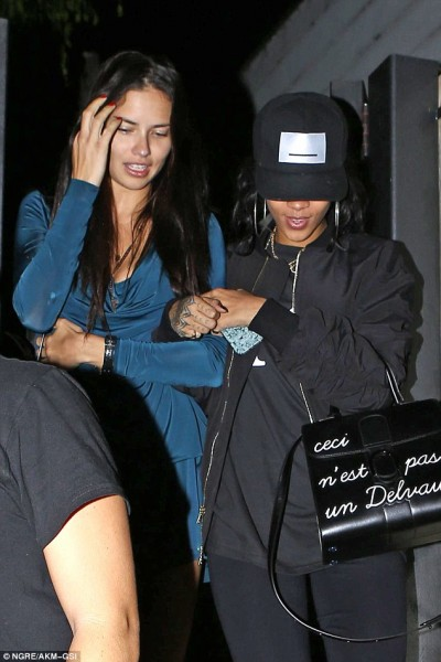 Adriana Lima and Rihanna with Ceci n'est pas un Delvaux bag