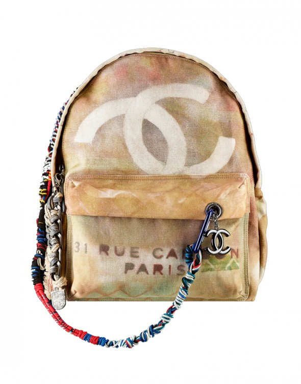 Chanel Large graffiti printed canvas backpack embellished with multicolored ropes