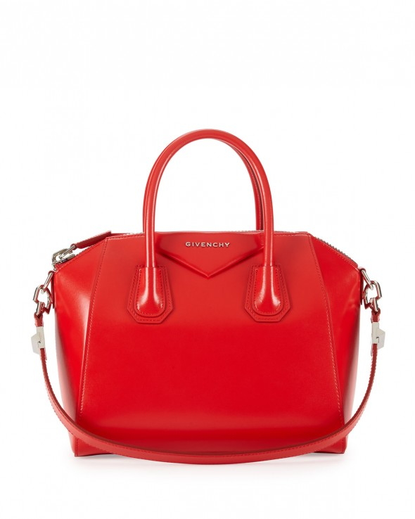 Givenchy Antigona Box Calf Satchel Bag - Red