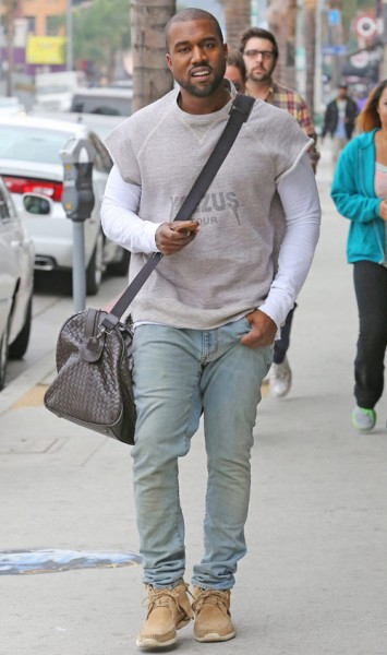 Kanye West with Bottega Veneta Nero Intrecciato VN Large Duffel