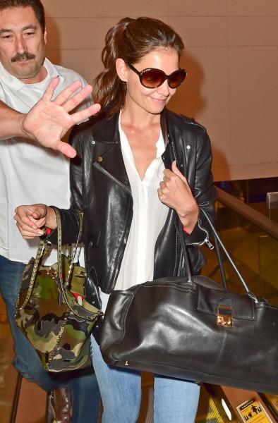 Katie Holmes Valentino bag & Lanvin JL Bowling Bag at LAX