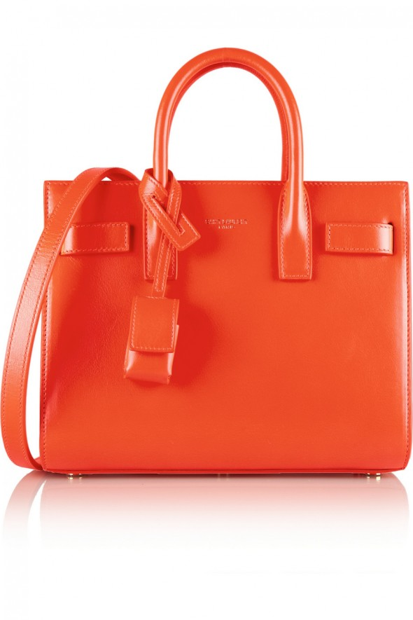 Saint Laurent Sac De Jour Nano Baby mini leather tote - Orange