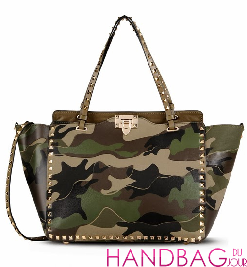 Valentino Rockstud Camo Canvas-Leather Medium Tote Bag, Green