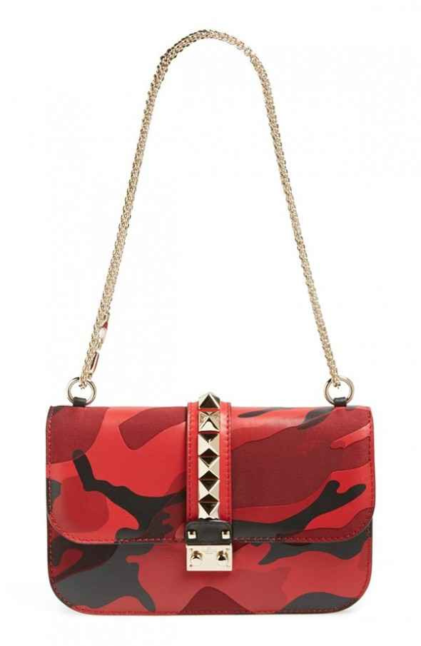 Valentino 'Rockstud Camo - Medium Lock' Canvas & Leather Shoulder Bag