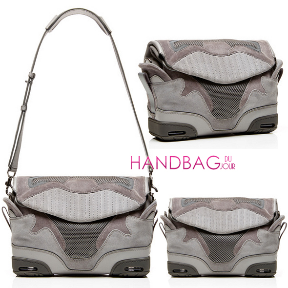 Alexander Wang Large Sneaker Sling Bag In Light Concrete With Mesh