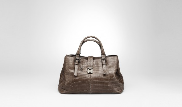 Bottega Veneta Edoardo Soft Crocodile Fume Roma Bag