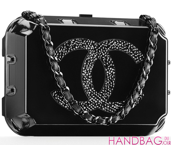 Chanel Plexiglas jewelry box minaudiere embellished with a strassed CC signature