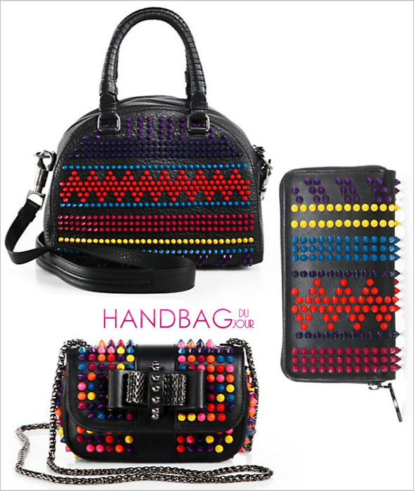 Haute or Not: Christian Louboutin Multicolor Stud Bags - Christian Louboutin Sweet Charity Multicolor Stud Flap Bag, Multicolor Studded Bowler Bag and Panettone Chevron Studded Leather Zip-Around Wallet